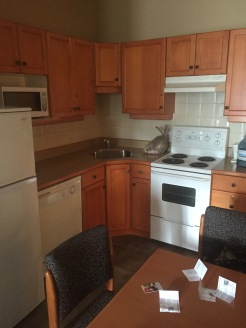 Kitchen in accessible suite